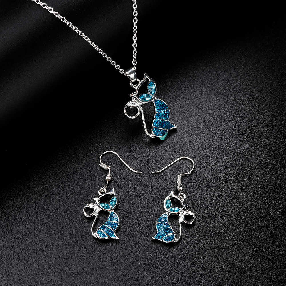 1PC Trendy Cute Cat Pendant Blue Opal Necklace Fashion Women's Animal Trendy Jewelry For Ladies Girls Christmas Gift