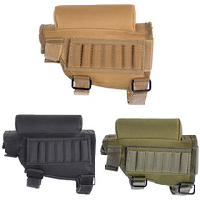 Adjustable Outdoor Tactical Butt Stock Rifle Cheek Rest Pouch Bullet Holder Nylon Riser Pad Ammo Cartridges Bag 19cm x 6cm x13cm