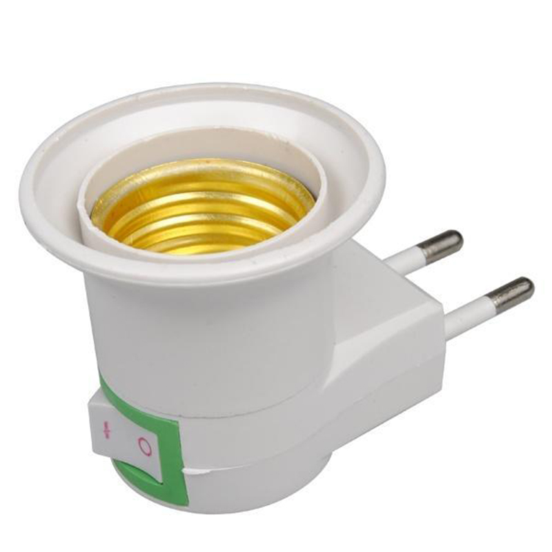 1pc pratique blanc E27 lumière LED prise à EU prise adaptateur convertisseur ON/OFF pour spirale ampoule lampe