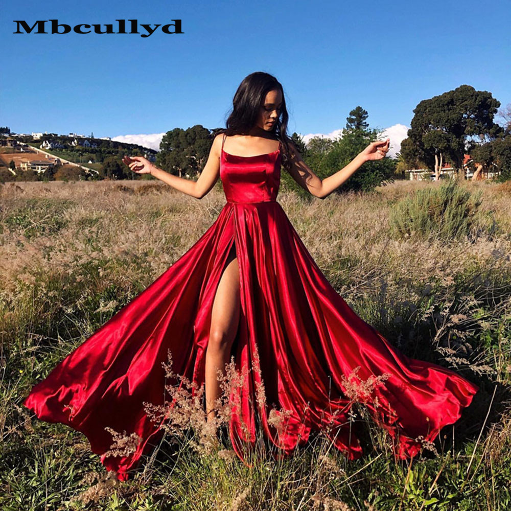 Mbcullyd Cross Back High Slit Satin   Prom     Dresses   Long with Pocket Sexy Backless Red Homecoming Party Gown 2019 Cheap Under 100