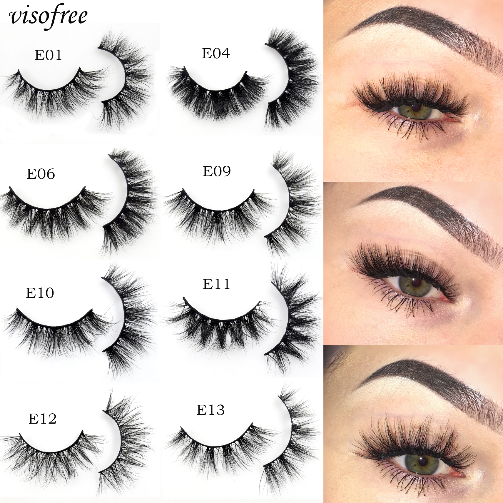 Visofree 3D Mink Lashes Crisscross  False Eyelashes Cruelty Free Mink Eyelashes Makeup Eyelash Extension Reusable Lashes