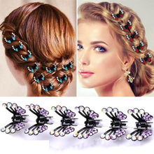 YWZIXLN Hot Sale Women Elegant Colorful Rhinestone Butterfly Hair Claws Hairpins Female Hair Styling Accessories H010 hot sale elegant style conterminal loop shape rhinestone embellished women s hair band