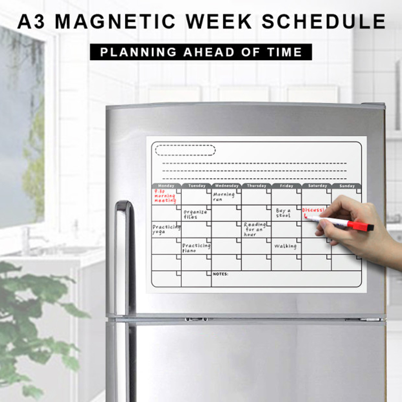 YIBAI A3 Monthly Calendar Magnetic Board Dry Erase Whiteboard Whiteboard Drawing For Kitchen School Home Fridge Planner 30*42cm