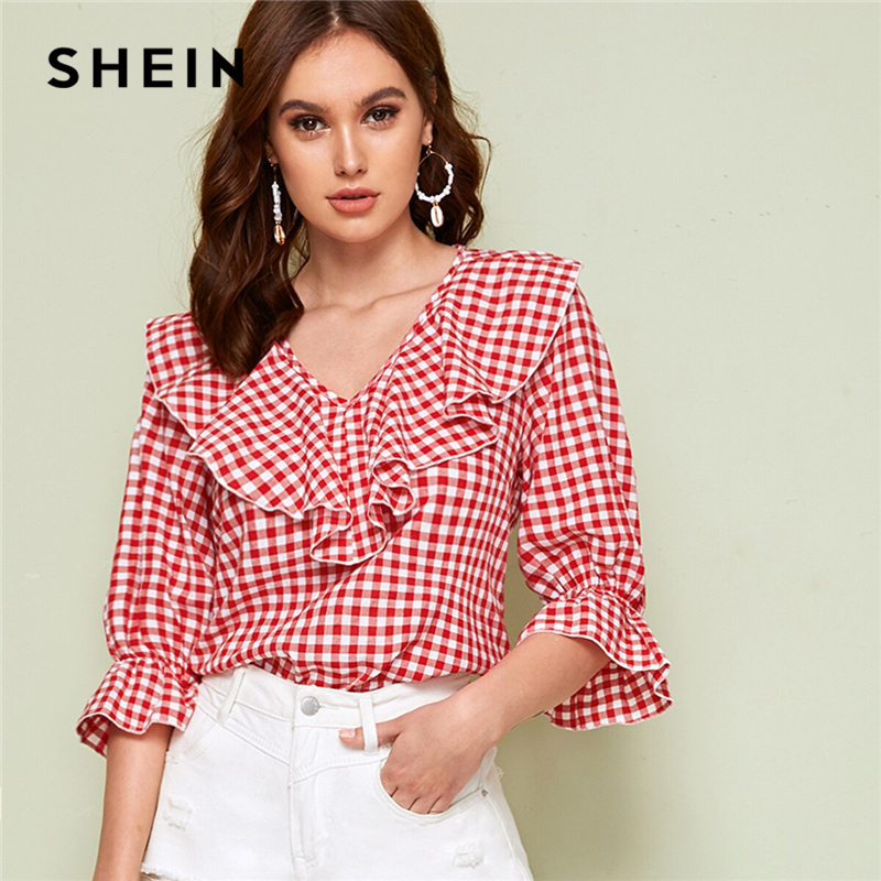 SHEIN Red V Neck Ruffle Trim Gingham Spring Casual Blouse Top Women 2019 Autumn Flounce Sleeve Cute Ladies Blouses And Tops