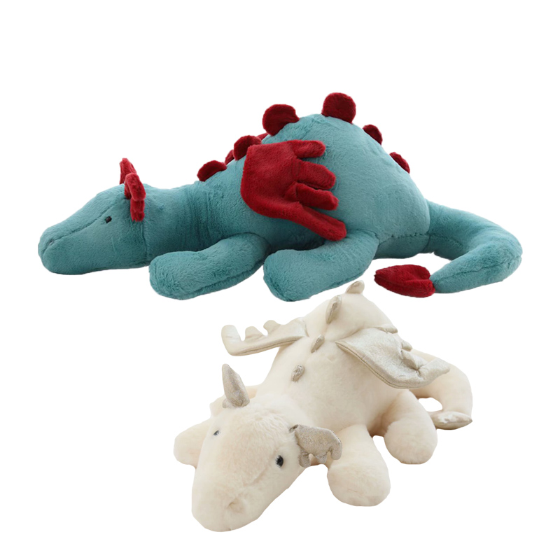 1pc Flying Dragon Plush Toy Green White Cute Fluffy Dragon with Wings Life-like Pterosauria Toy Pillow Kids Toys Gift for Boy