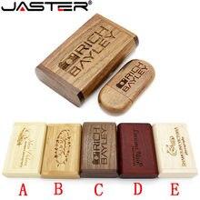 4gb 8gb 16gb 32gb 64gb memória vara fotografia presentes jaster (mais de 1 pces logotipo livre) usb de madeira + caixa pen drive usb