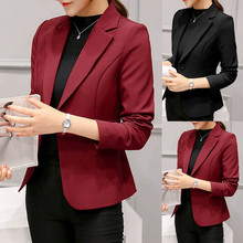 2019 Women's Blazer Pink Long Sleeve Blazers Solid One Butto