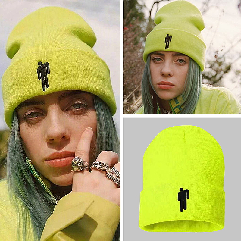 Billie Eilish Beanie Hat Women Men Knitted Warm Winter Embroidery Hats For Women Men Solid Hip-hop Casual Cuffed Beanies Bonnet