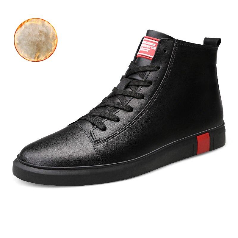 Men Winter High Top Genuine Leather Sneakers Black Men's Shoes Sneaker Mans Footwear Autumn Ankle Boots Zapatilla Hombre Hip Hop