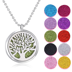 Aromatherapy Jewelry Diffuser Necklace Perfume Aroma Necklace Essential Oil Diffuser Tree of Life Pendant with 10pcs Shiny Pads