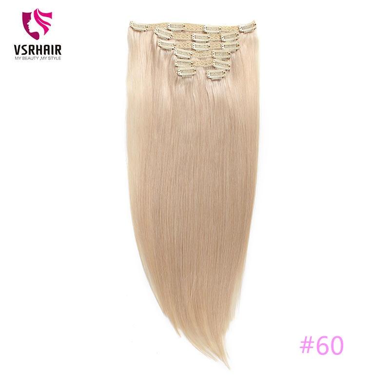 VSR 100g 120g 150g 55 centimetri di Qualità Europeo Clip di Umani di Remy di Spessore e Seta Pura Fatta a Macchina estensioni dei capelli 7pcs16clips Bionda