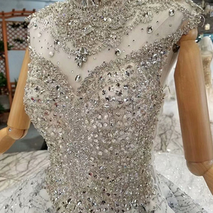 Image 5 - LS014545 royal shiny ball gown evening dresses with glitter sleeves high neck beaded dubai women occasion dress china wholesale