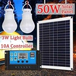 50W Panel słoneczny 18V + 10A kontroler usb + 2 sztuk 3W 12V Led światła ładowarka słoneczna na samochód kempingowy łódź zestawy układu słonecznego