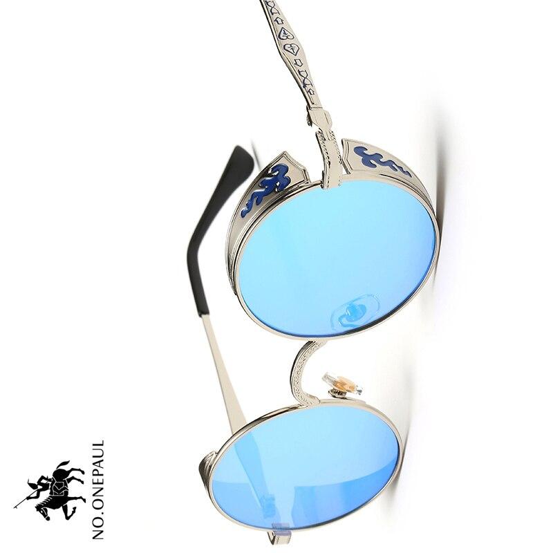 NO.ONEPAUL High Quality UV400 Eyewear Metal Steampunk Sunglasses Men Women Fashion Round Glasses Brand Design Vintage Sunglasses
