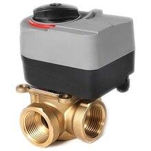 220 В Электрический Т-клапан латунный Электрический шаровой клапан трехходовой клапан может быть ручной и автоматической системы отопления клапан DN20