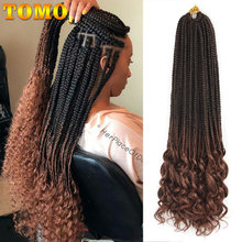 TOMO Crochet Hair Box Braids Curly Ends 14 18 24 Inch Ombre Synthetic Hair for Braid 22 Strands Braiding Hair Extensions