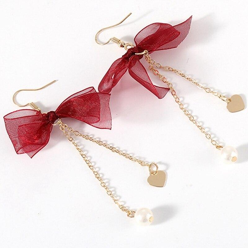 Long Pendant Bow-knot Earrings Pearl Tassel Earrings Temperament Red Lace Bow Female Earrings