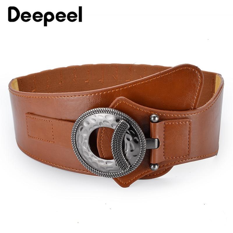 Deepeel 1pc 84cm Ladies Elastic Wide Cummerbunds High-quality PU Belts Elegant Clothing Accessories For Coat Decoration CB042