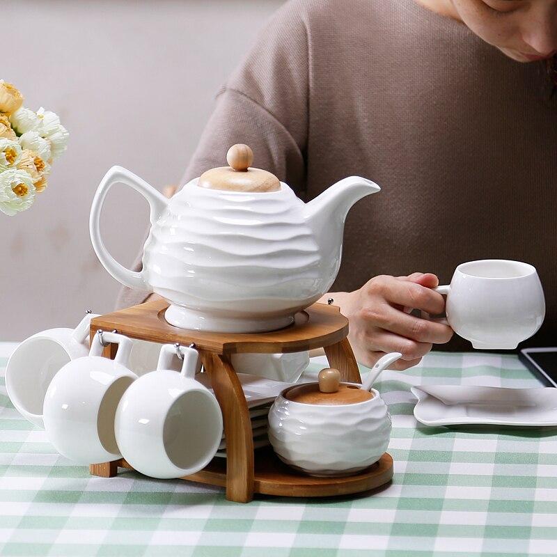Tasses tasses café pots de café en céramique | style européen, cadre en bambou et bois, ensembles de thé, porte-dosette de café, porcelaine, os