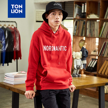 TONLION Red and Black Mens Sweatshirt No Hood Preppy Style Simple Letter Print Hoodies for Mans 2020 Spring Tops