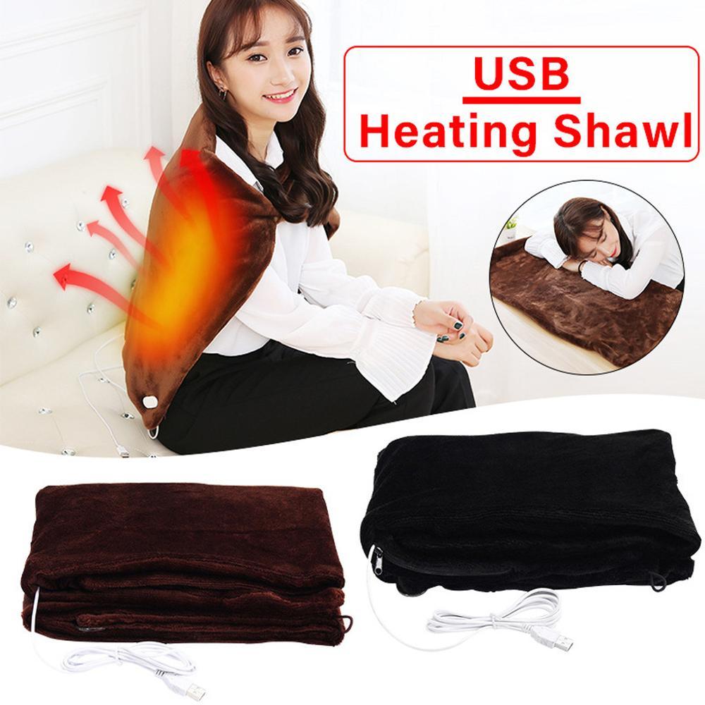 Electric Warming Heating Blanket Pad Shoulder Neck Mobile Heating Shawl USB