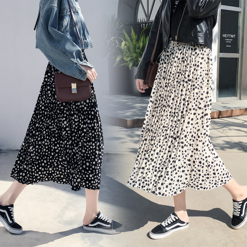Photo Shoot 2019 Spring And Autumn New Style Hong Kong Flavor CHIC Long Black High-waisted Pleated Over-the-Knee Skirt Children