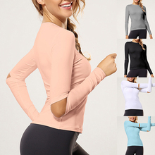 Yoga Shirt Women Leisure Slim Breathable Sports Long-sleeved Top Quick-Drying Fitness Running Workout Sportswear Yoga clothes