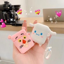 3D Cute Kawaii Pink Cartoon Earphone Cases For AirPods Case For Airpods 2/i10/i11/i12 TWS Protect Cover with Finger Ring Strap(China)