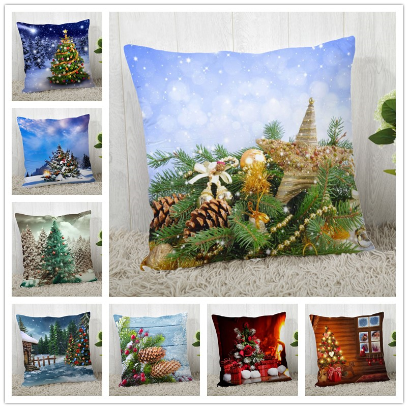 Custom Decorative Pillowcase Merry Christmas Tree Square Zippered Pillow Cover Autumn Pillow Case 40x40,45x45cm(One Side)