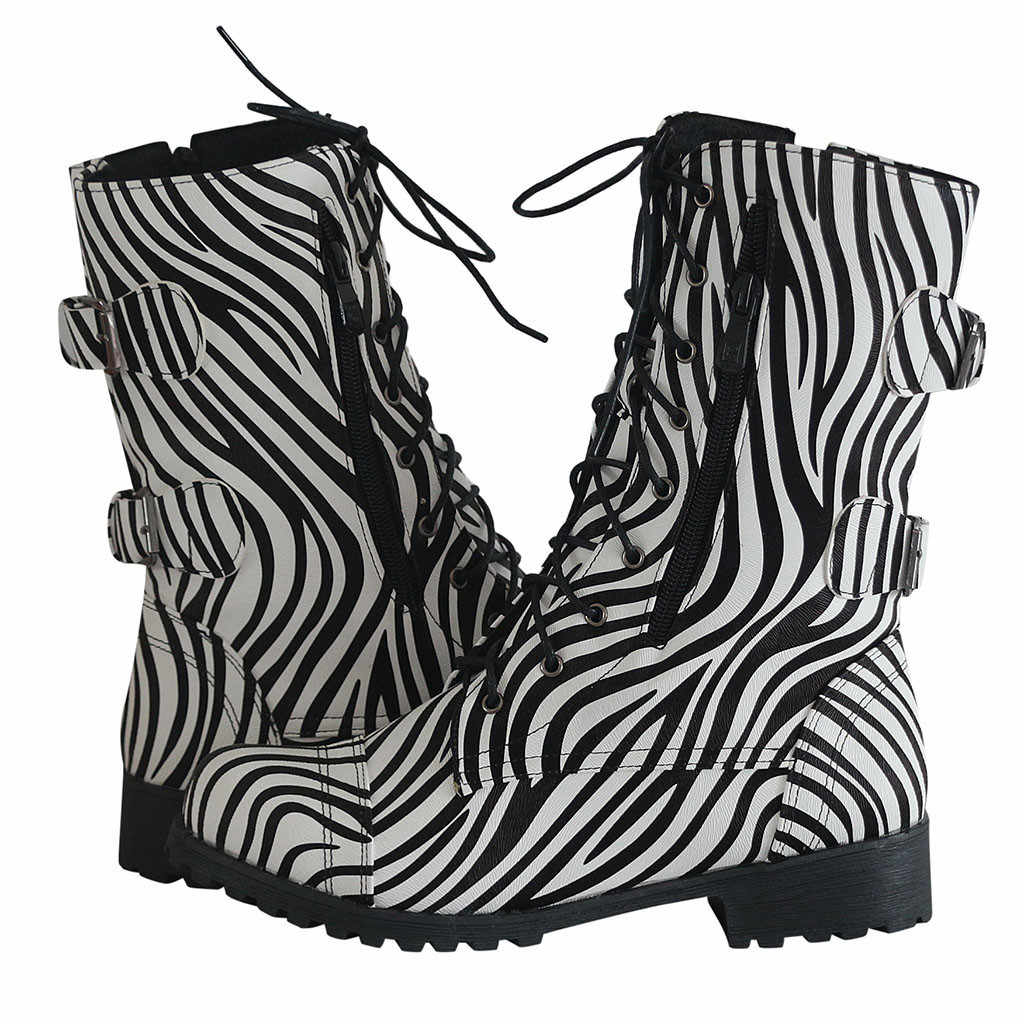 Chaussures femme Design spécial femmes hiver doublure cheville à lacets motif Animal militaire Combat bottes chaussures femme