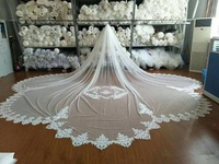 long 500cm Real Photo One layer white lvory Wedding Cathedral Veil Lace Veil Long Veils bridal Accessories
