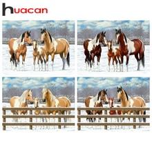 Huacanダイヤモンドの絵画動物馬フルドリル手作りギフトダイヤモンド刺繍冬の風景の装飾