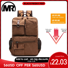MARKROYAL 새로운 남자 캔버스 배낭 숄더 가방 학생 레저 가방 컴퓨터 가방 학교 Mochila 청소년 15 인치 노트북 배낭
