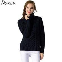 2019 Otoño Invierno grueso suéter de cuello alto de mujer de manga larga jerseys de punto suéter señoras elegante de fondo de punto Tops