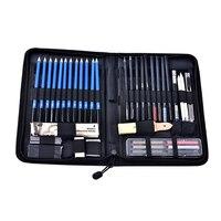 48 stücke Professionelle Skizzieren Zeichnung Bleistifte Kit mit Tragen Tasche Kunst Malerei Werkzeuge 8B 6B 5B 4B 3B 2B B HB 2H 3H 4H 5H Bleistift