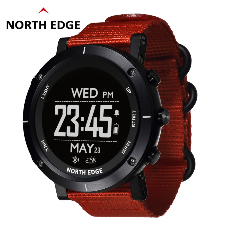 NORTH EDGE Men Sports Watches Altimeter Barometer Thermometer Compass Heart Rate Monitor Pedometer Digital Running Hiking
