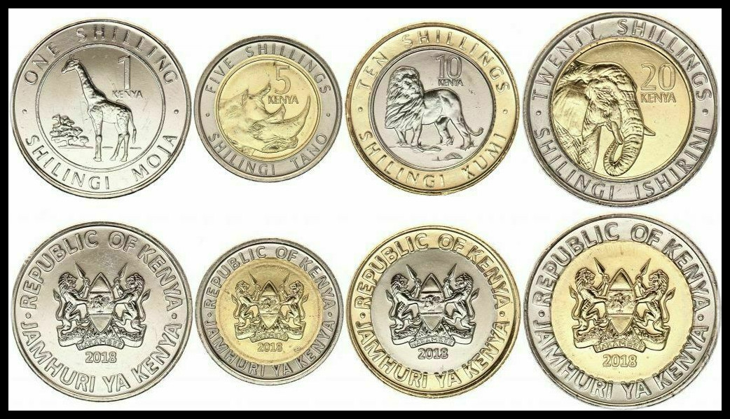 1 Set 5 Kenya Pieces Africa Coins New Original Coin UNC Commemorative Edition 100% Real