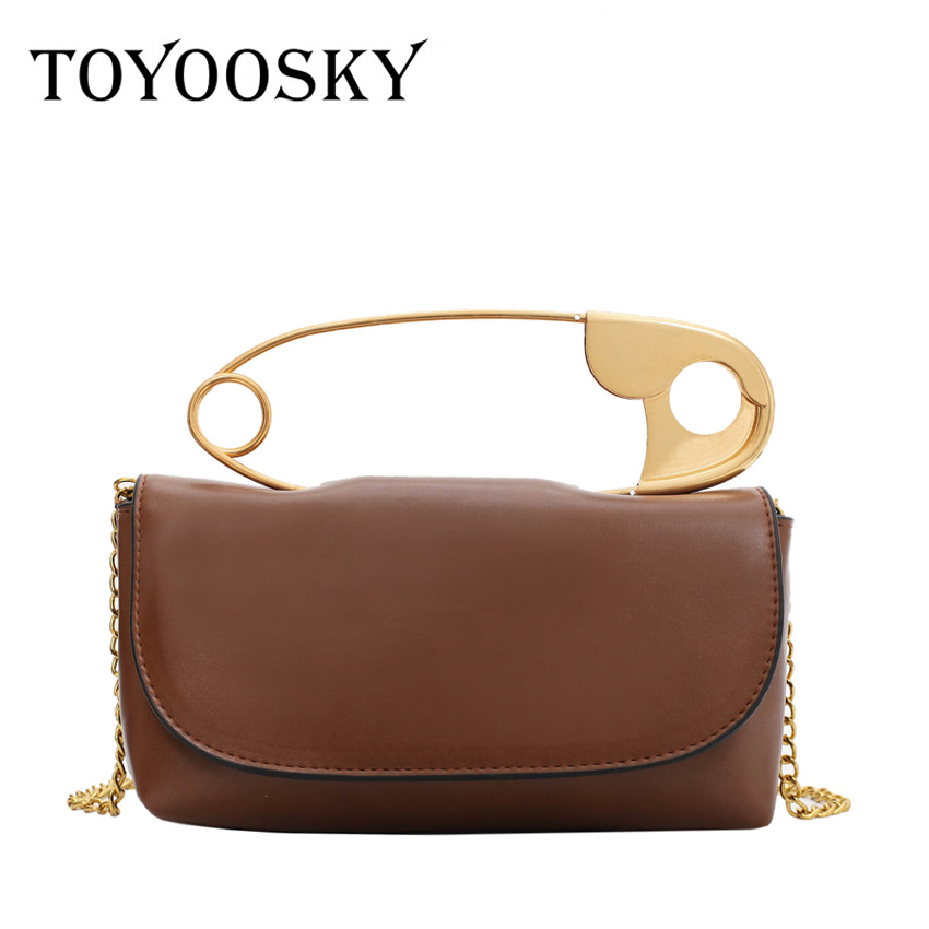 TOYOOSKY Large Pins Design Handbag 2020 New Korean Square Shoulder Messenger Bag Ladies Personality Chic Brooch Black Purse
