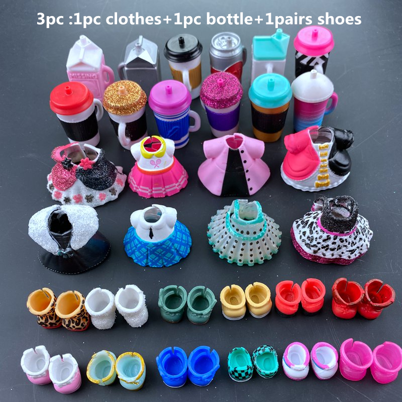 3pc Original LOLs Doll Clothes,  Bottles, Shoes Accessories For LOLs Accessories Hot Sale