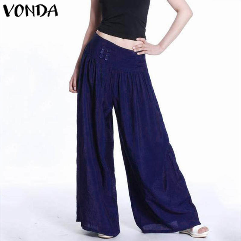 VONDA Summer Long   Pants   2019 Women Casual Loose   Wide     Leg     Pants   Elegant Solid Color Bottoms Femme Bohemian Streetwear 5XL Trouser