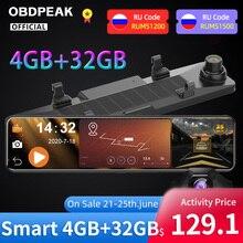 OBDPEAK – caméra de tableau de bord DVR pour voiture, enregistreur vidéo automatique, avec rétroviseur, 12 pouces, 8.1 P, Android 1080, 4 go + 32 go, OBDPEAK D90