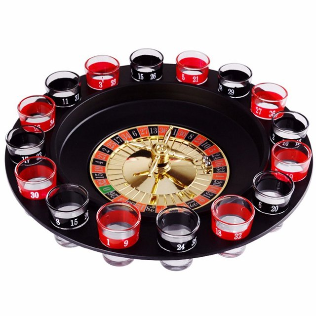 ABKT Novelty  Drink Turntable Toys Russian Roulette Wheel 16 Wine Cups Bar KTV Night Party Entertainment