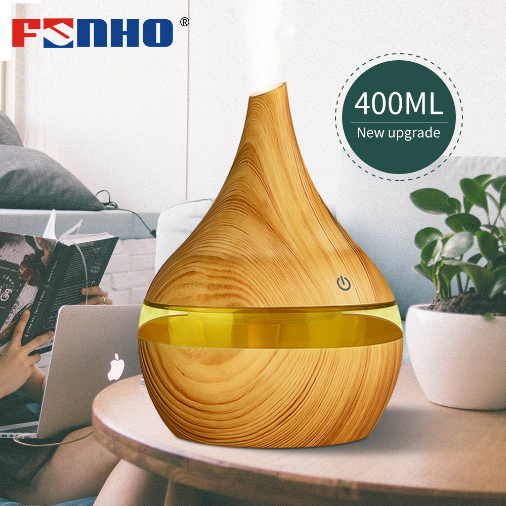 FUNHO 400ml Air Humidifier Aroma Diffuser Aromatherapy Ultrasonic Mist Maker Essential Oil Diffuser Humificador 7 Color Office