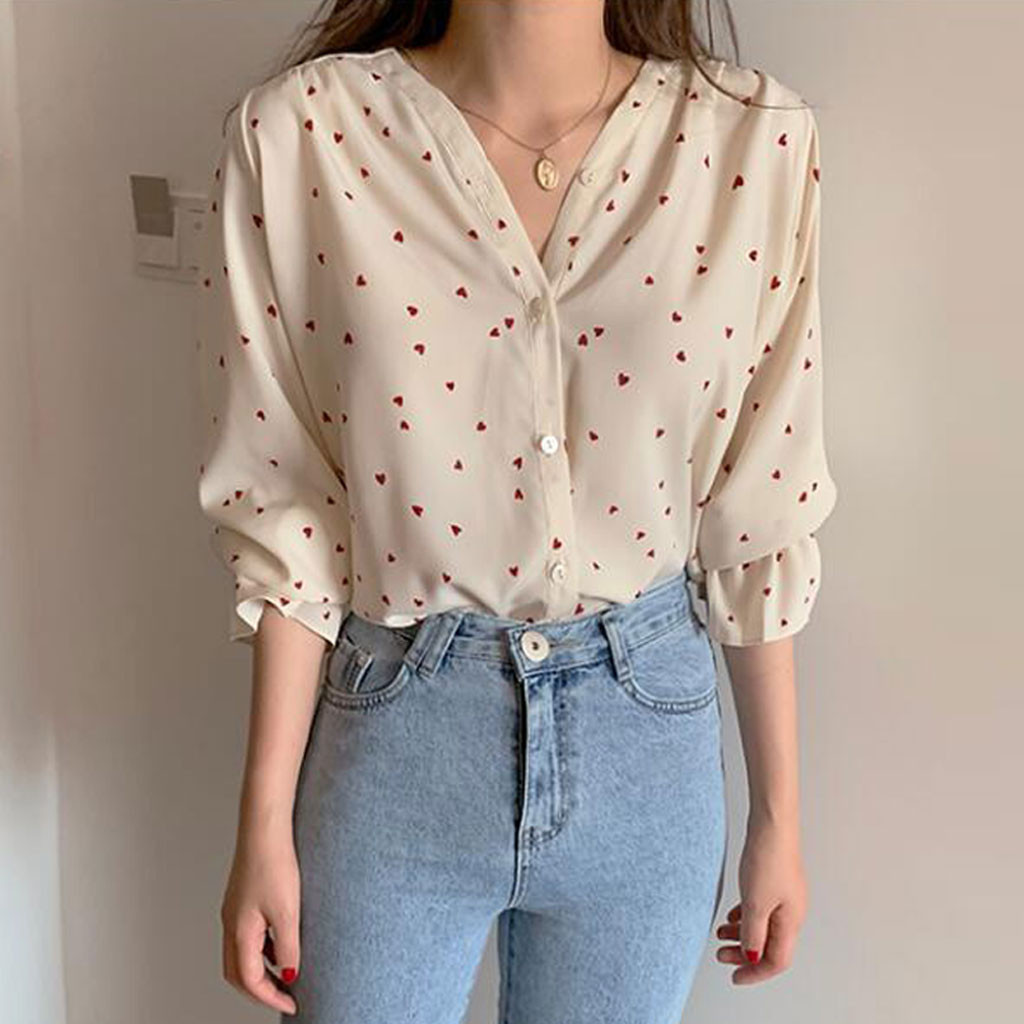 Fashion Women Dot Blouse V Neck Blouse Embroidery Love Print Long Sleeve Puff Sleeves Beach Holiday Floral Retro Топ#