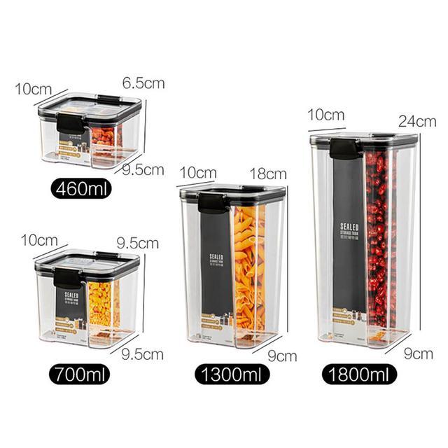 700/1300/1800ML Food Storage Container Plastic Kitchen Refrigerator Noodle Box Multigrain Storage Tank Transparent Sealed Cans 6