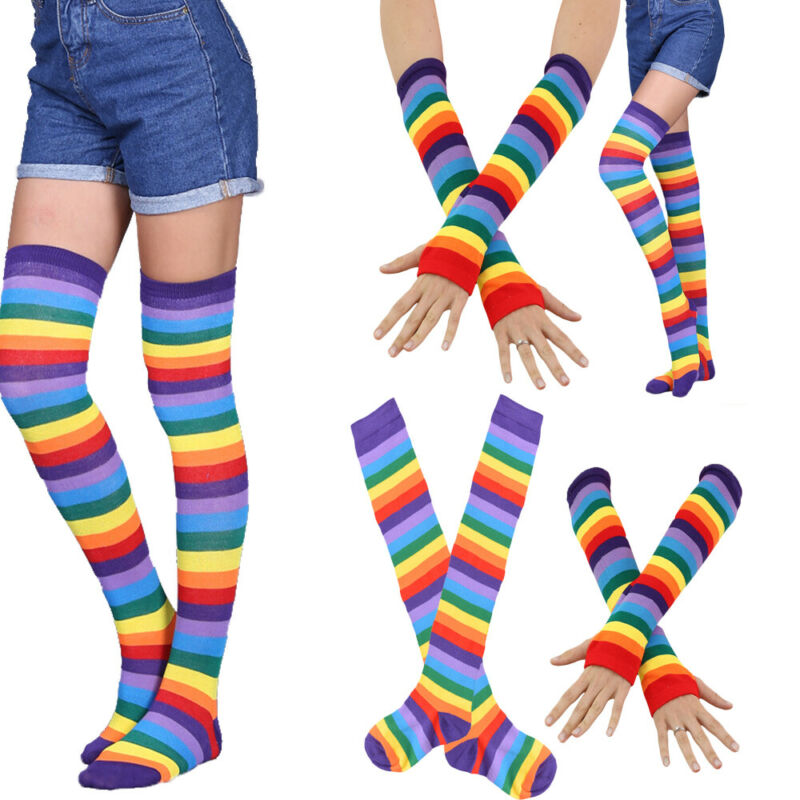 New Girls Ladies Women Thigh High Over The Knee Socks Long Cotton Stockings Warm Rainbow Arm Stretchy Mitten Gloves Glove Sets