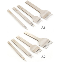 4 pcs/set Leather Craft Tools Stainless Steel 1/2/4/6 Hole Chisel Graving Stitching Punch Kit 5mm/6mm