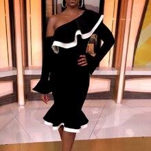 Color Block Falbala Oblique Collar Bodycon Dress Women Long Sleeve Black One Shoulder Sexy Mermaid Trumpet Ruffles Party Dresses цена