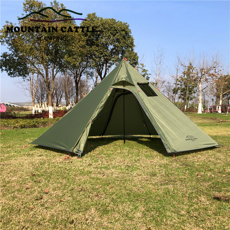 3-4 Person Ultralight Outdoor Camping Teepee Big Pyramid Tent Backpacking Hiking Tent with Rod Stovepipe Hole Awnings Shelter (3)