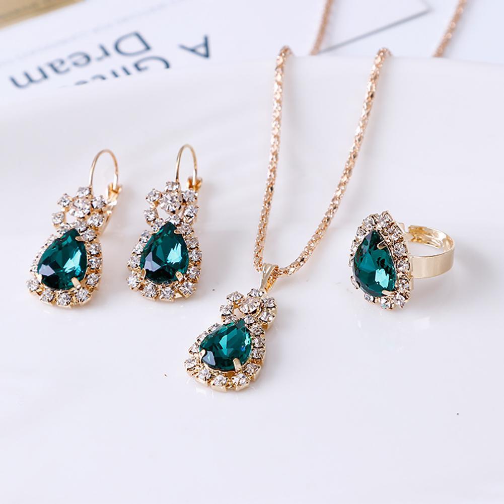 Fashion Waterdrop Shiny Rhinestones Necklace Ring Earrings Women Jewelry Set